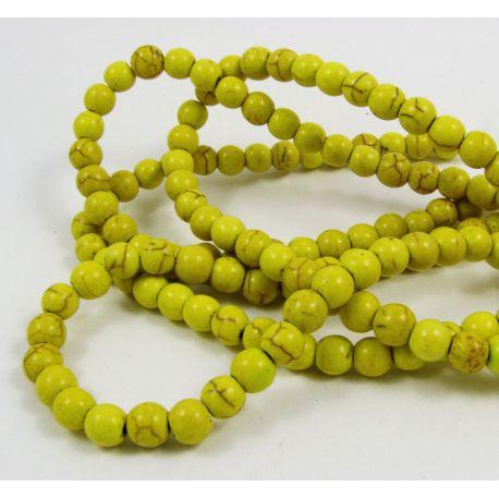 Sintetinio turkio gija, žalsvai geltonos spalvos, apvalios formos, dydis 6 mm