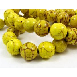 Sintetinio turkio karoliukai, žalsvai geltonos spalvos, apvalios formos, dydis 10 mm