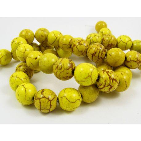 Sintetinio turkio karoliukų gija, žalsvai geltonos spalvos, apvalios formos, dydis 10 mm