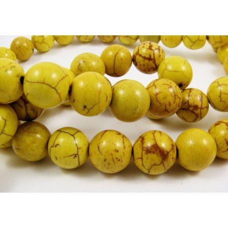 Sintetinio turkio karoliukai, žalsvai geltonos spalvos, apvalios formos, dydis 12 mm