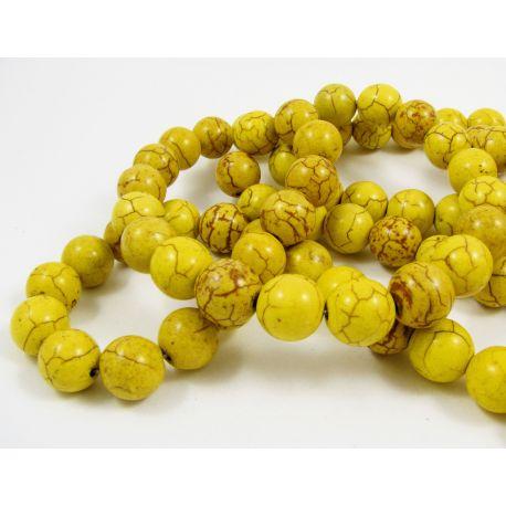 Sintetinio turkio karoliukų gija, žalsvai geltonos spalvos, apvalios formos, dydis 12 mm
