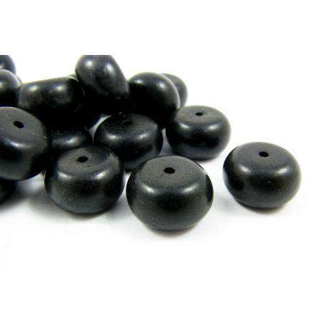 Sintetinio turkio karoliukai, juodos matinės spalvos, rondelės formos, 14x7 mm
