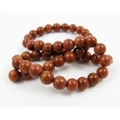 Saulės akmens karoliukų gija, rudos spalvos, apvalios formos 8 mm