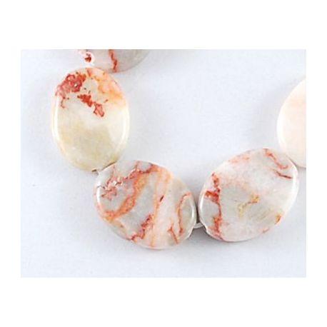 Raudonojo jaspio akmens karoliukai, baltos – raudonos – pilkos spalvos, ovalo formos, dydis apie 20x14 mm., 1 vnt.