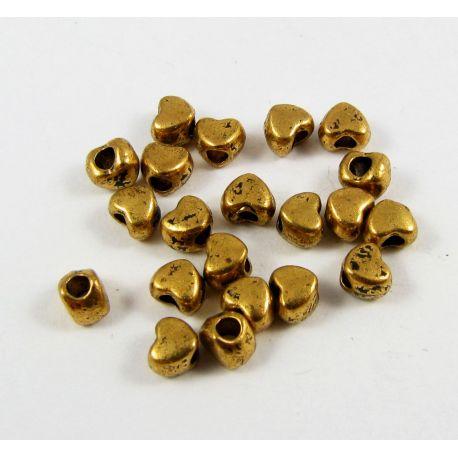 Intarpas skirtas papuošalų gamybai sendintos aukso spalvos, širdelės formos 4 mm