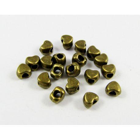 """Intarpas """"Širdelė"""" sendintos bronzinės spalvos, 4mm ~ 10 vnt"""