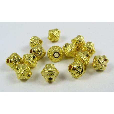 Intarpas skirtas papuošalų gamybai,rondelės formos, dydis, aukso spalvos 7,5x6,5 4mm, 10 vnt