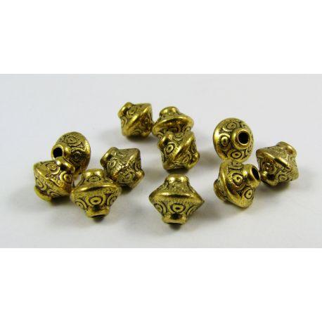 Intarpas skirtas papuošalų gamybai,rondelės formos, dydis, sendintos aukso spalvos 7,5x6,5 4mm, 10 vnt
