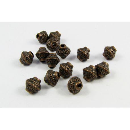 Intarpas skirtas papuošalų gamybai,rondelės formos, dydis, sendintos vario spalvos 7,5x6,5 4mm, 10 vnt