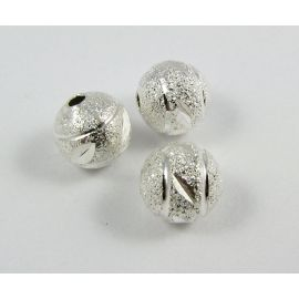Intarpas sidabro spalvos, apvalios formos, dydis 8 mm, 1 vnt