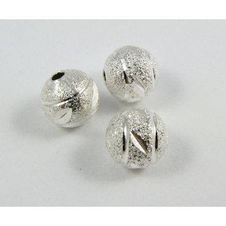 Intarpas skirtas papuošalų gamybai, sidabro spalvos, apvalios formos, dydis 8 mm, 1 vnt