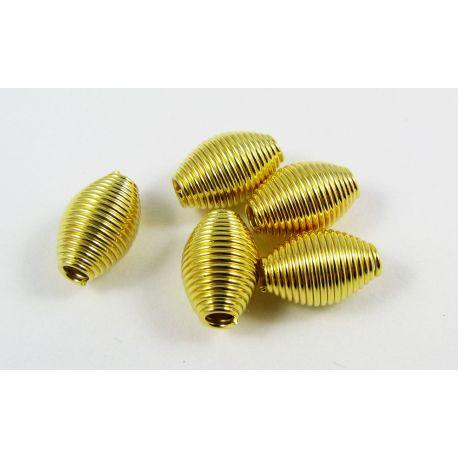 Intarpas aukso spalvos, ryžio formos, dydis 11x7 mm, 10 vnt