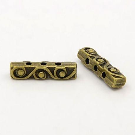 Intarpas sendintos bronzinės spalvos, 3 skylių, dydis 18x4 mm, 10 vnt