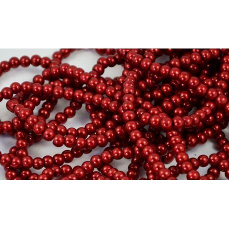 Stiklinių perliukų gija, tamsiai raudonos spalvos, dydis 6 mm, gijoje 148-150 vnt