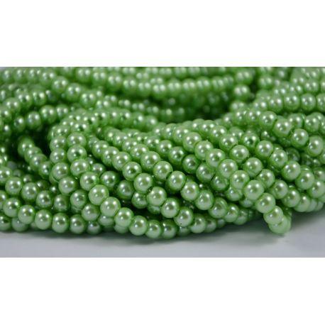 Stiklinių perliukų gija, šviesios žalios spalvos, dydis 6 mm, gijoje 148-150 vnt