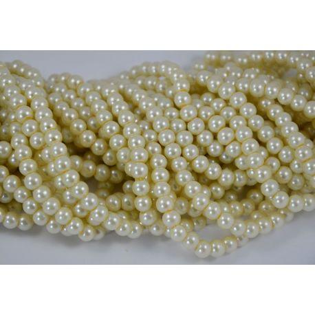 Stiklinių perliukų gija, šiltos baltos spalvos, dydis 6 mm, gijoje 148-150 vnt