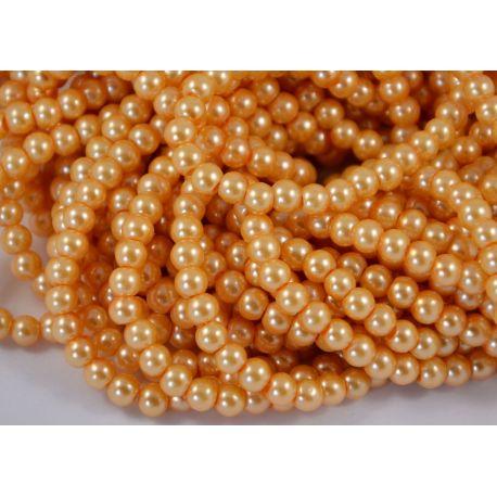 Stiklinių perliukų gija, persiko spalvos, dydis 6 mm