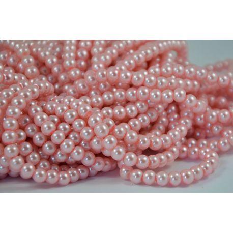 Stiklinių perliukų gija, rožinės spalvos, dydis 6 mm, gijoje 148-150 vnt