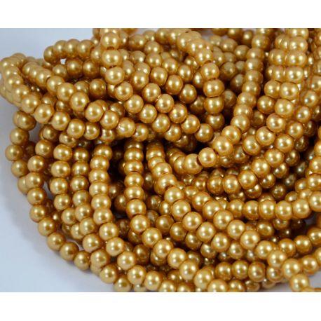Stiklinių perliukų gija, tamsios aukso spalvos, dydis 6 mm