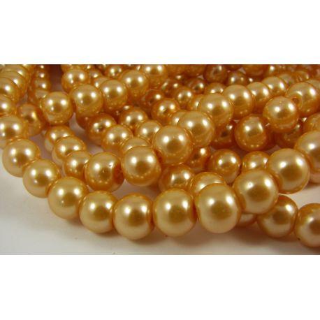 Stiklinių perliukų gija, persiko spalvos, dydis 8 mm, gijoje 102-105vnt