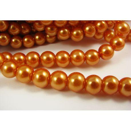 Stiklinių perliukų gija, oranžinės spalvos, dydis 8 mm, gijoje 102-105 vnt