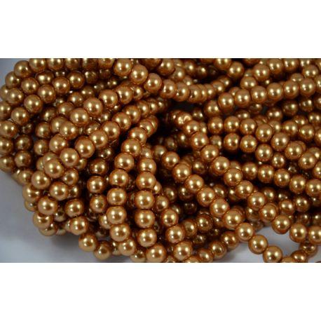 Stiklinių perliukų gija, tamsios aukso spalvos, dydis 8 mm