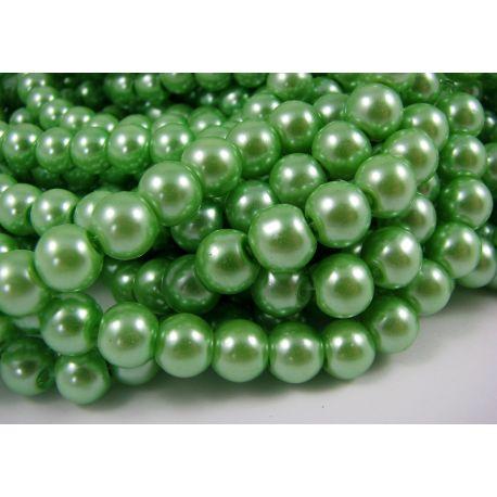 Stiklinių perliukų gija, šviesios žalios spalvos, dydis 8 mm, gijoje 102-105 vnt