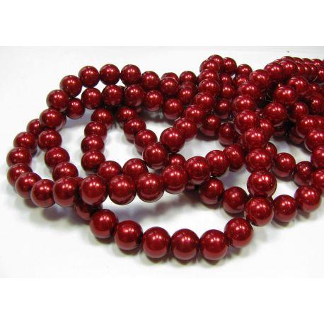 Stiklinių perliukų gija, tamsiai raudonos spalvos, dydis 8 mm, gijoje 102-105 vnt