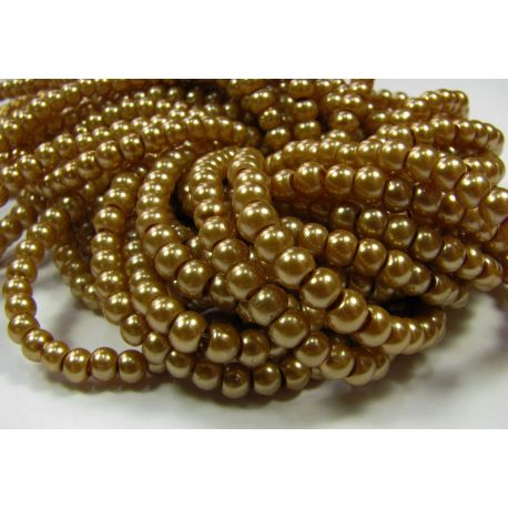 Stiklinių perliukų gija, tamsios aukso spalvos, dydis 4 mm, gijoje 225 vnt