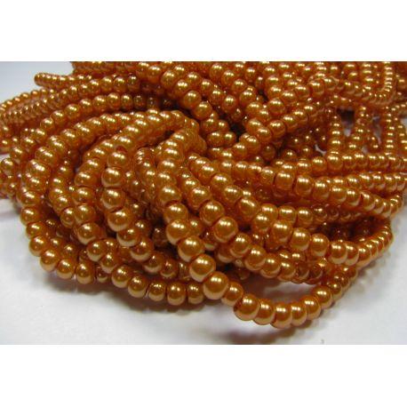 Stiklinių perliukų gija, oranžinės spalvos, dydis 4 mm, gijoje 225 vnt