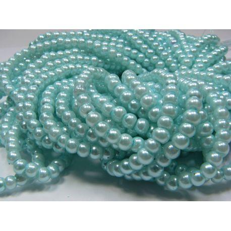 Stiklinių perliukų gija, žydros spalvos, dydis 4 mm, gijoje 225 vnt