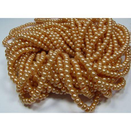 Stiklinių perliukų gija, persikinės spalvos, dydis 4 mm, gijoje 225 vnt