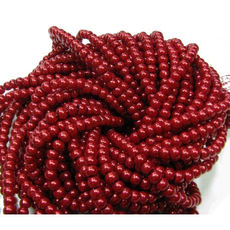 Stiklinių perliukų gija, tamsiai raudonos spalvos, dydis 4 mm, gijoje 225 vnt