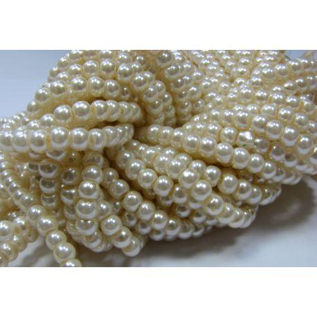 Stiklinių perliukų gija, šiltos baltos spalvos, dydis 4 mm