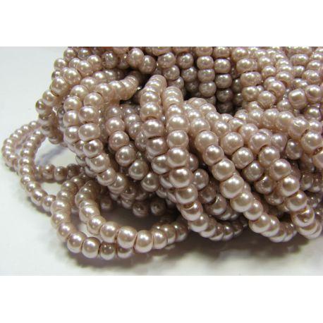 Stiklinių perliukų gija, šviesiai alyvinės spalvos, dydis 4 mm, gijoje 225 vnt