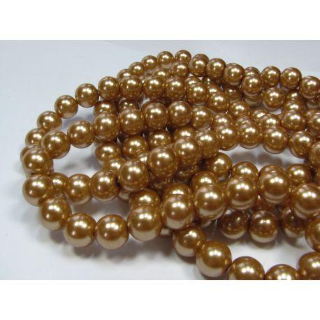 Stiklinių perliukų gija, tamsios aukso spalvos, dydis 10 mm