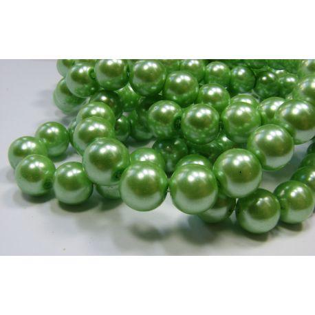 Stiklinių perliukų gija, šviesios žalios spalvos, dydis 10 mm, gijoje 80-86 vnt