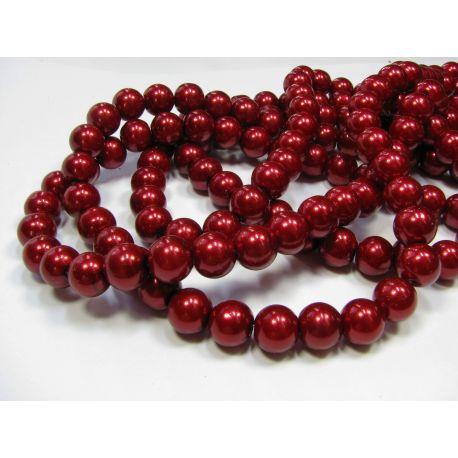 Stiklinių perliukų gija, tamios vyšninės spalvos, dydis 10 mm
