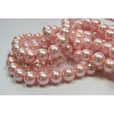 Stiklinių perliukų gija, šviesiai rožinės spalvos, dydis 10 mm, gijoje 80-86 vnt