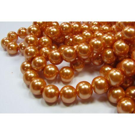 Stiklinių perliukų gija, oranžinės spalvos, dydis 10 mm, gijoje 80-86 vnt