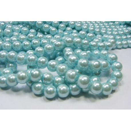 Stiklinių perliukų gija, žydros spalvos, dydis 10 mm, gijoje 80-86 vnt