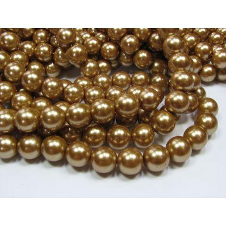 Stiklinių perliukų gija, tamsios aukso spalvos, dydis 12 mm, gijoje 68-70 vnt