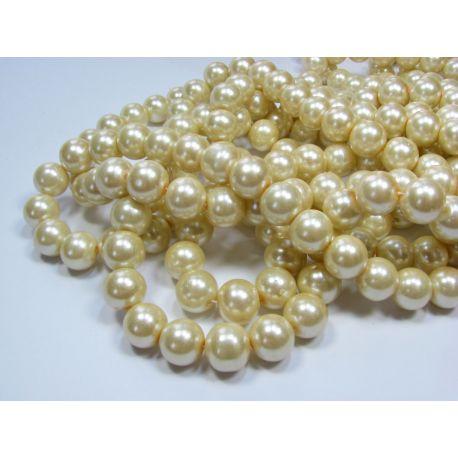 Stiklinių perliukų gija, šiltos baltos spalvos, dydis 12 mm, gijoje 68-70 vnt