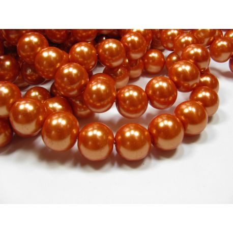 Stiklinių perliukų gija, oranžinės spalvos, dydis 12 mm, gijoje 68-70 vnt