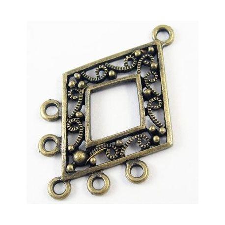 """Paskirstytojas """"Rombas"""", sendintos bronzinės spalvos, 6 kilpų, dydis 40x26 mm 1 vnt."""