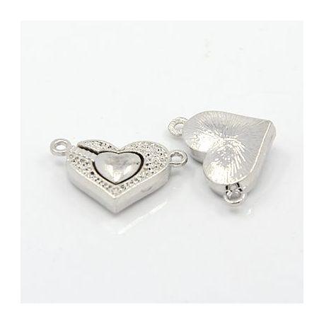 """Magnetinis vėrinio užsegimas """"Širdelė"""", sidabro spalvos, 24x14 mm"""