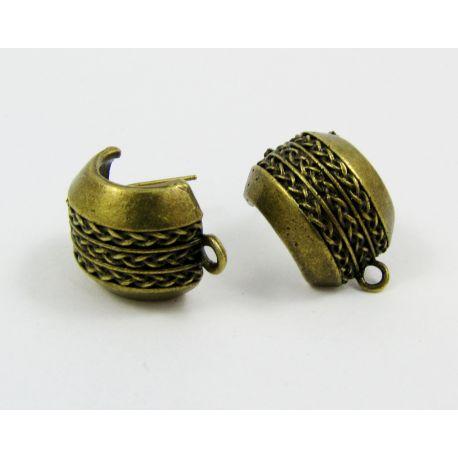 Kabliukai auskarams, sendintos bronzinės spalvos, 22x14 mm dydžio, 1 pora