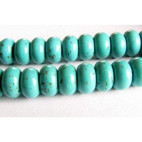 Sintetinio turkio karoliukai žalsvai žydros spalvos rondelės formos 8x5mm