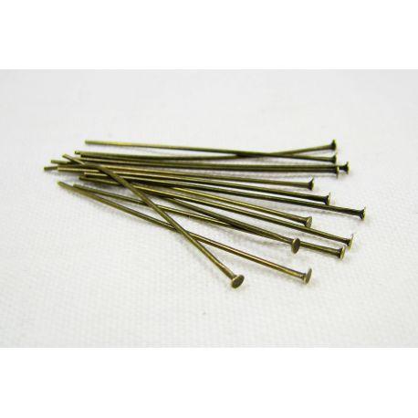 Smeigtukai skirti papuošalų gamybai bronzinės spalvos su burbuliuku 35x0,6 mm, 100 vnt.