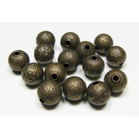 Intarpas skirtas papuošalų gamybai, sendintos bronzinės spalvos, apvalios formos, dydis 8 mm, 1 vnt